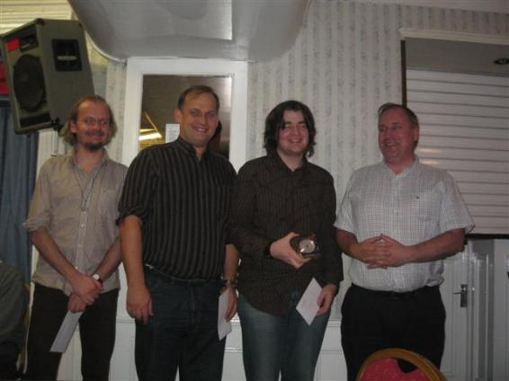 Master section winners (Gawain Jones, Alex Baburin, Stuart Conquest after being presented with joint first by Maurice Buckley)